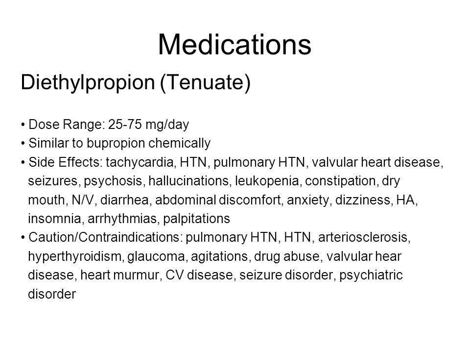 Medications Diethylpropion (Tenuate) Dose Range: 25-75 mg/day