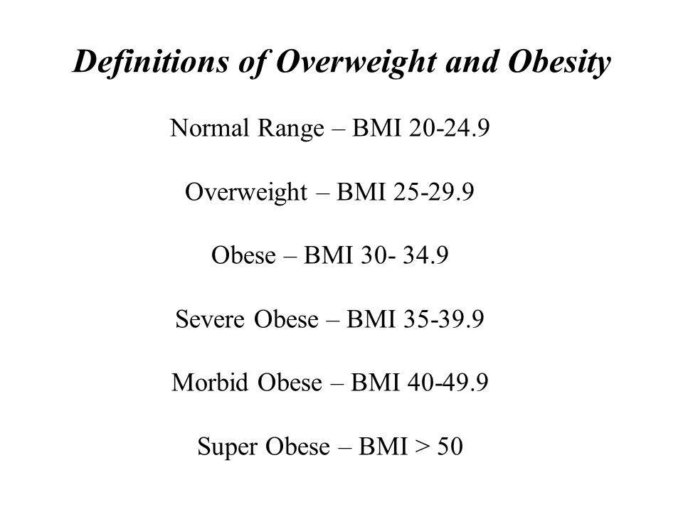 Definitions of Overweight and Obesity