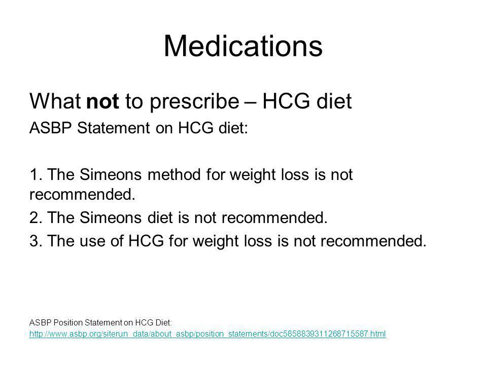 Medications What not to prescribe – HCG diet