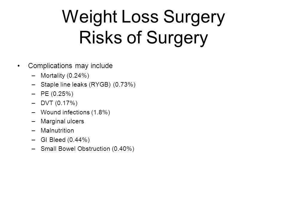 Weight Loss Surgery Risks of Surgery