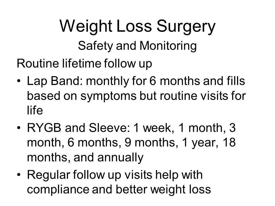 Weight Loss Surgery Safety and Monitoring Routine lifetime follow up