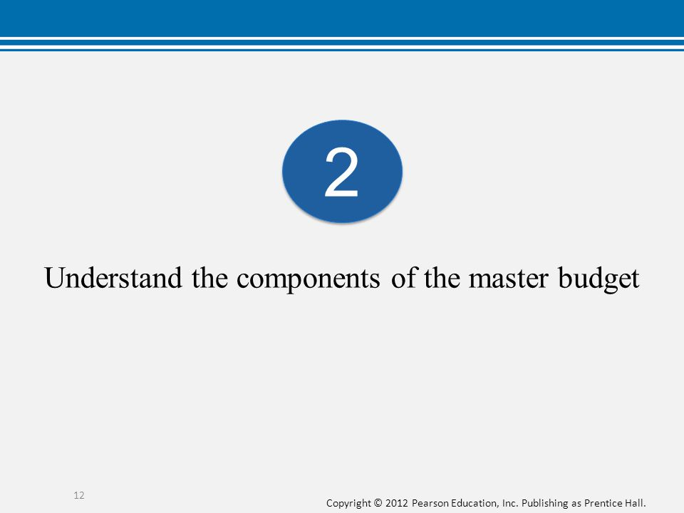 Understand the components of the master budget