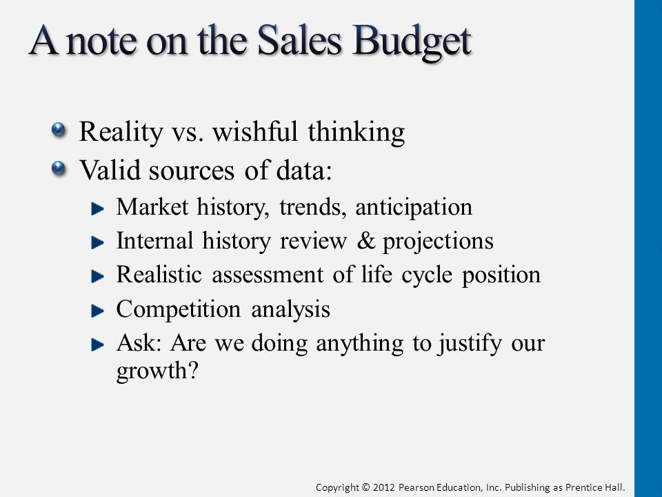 A note on the Sales Budget