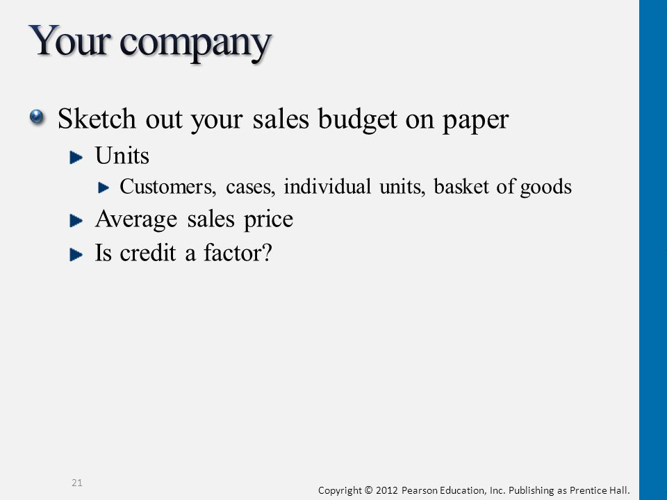 Your company Sketch out your sales budget on paper Units