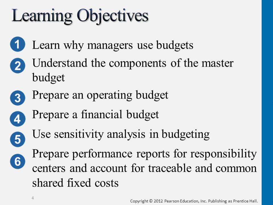 Learning Objectives Learn why managers use budgets
