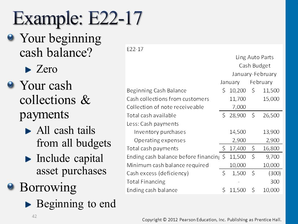 Example: E22-17 Your beginning cash balance