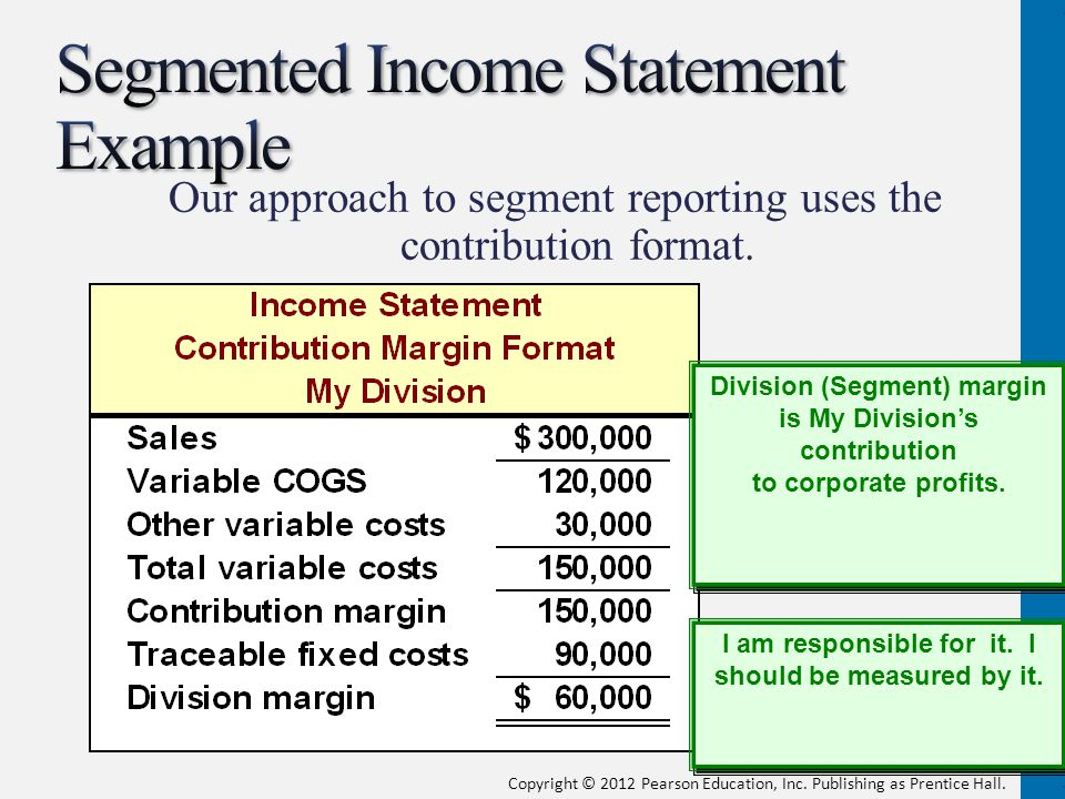 Segmented Income Statement Example
