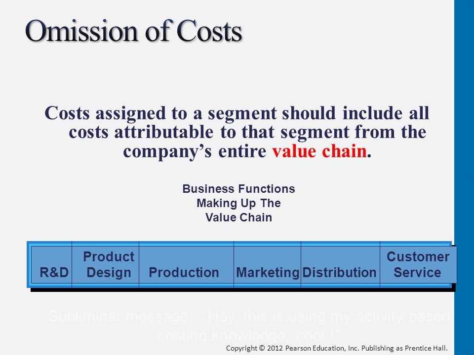 Omission of Costs Costs assigned to a segment should include all costs attributable to that segment from the company's entire value chain.