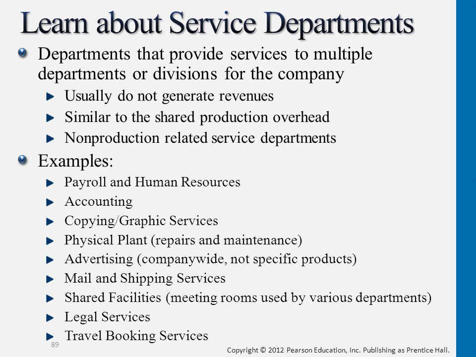 Learn about Service Departments