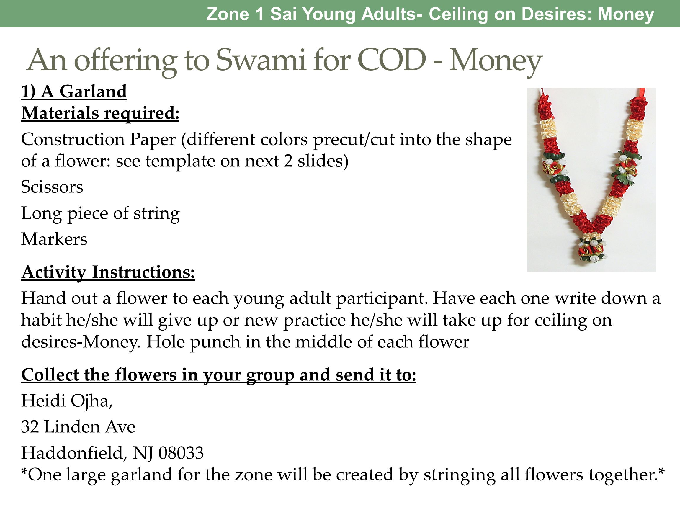 An offering to Swami for COD - Money