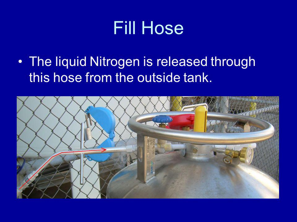 Fill Hose The liquid Nitrogen is released through this hose from the outside tank.