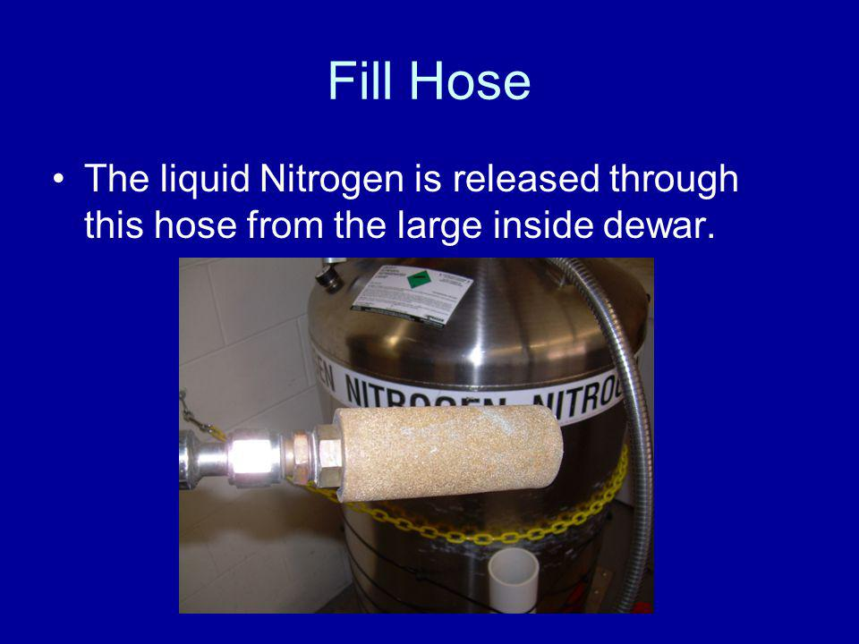 Fill Hose The liquid Nitrogen is released through this hose from the large inside dewar.