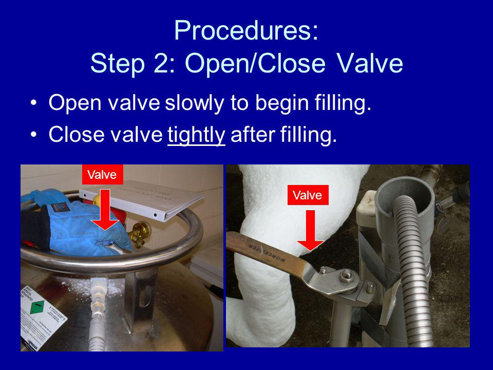 Procedures: Step 2: Open/Close Valve