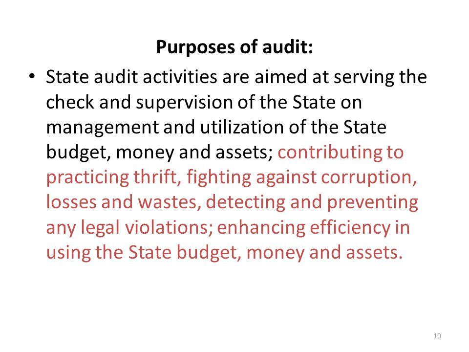 Purposes of audit: