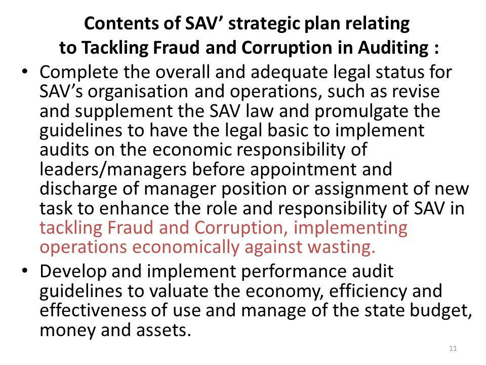 Contents of SAV' strategic plan relating