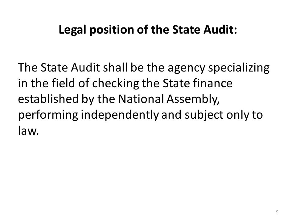 Legal position of the State Audit: