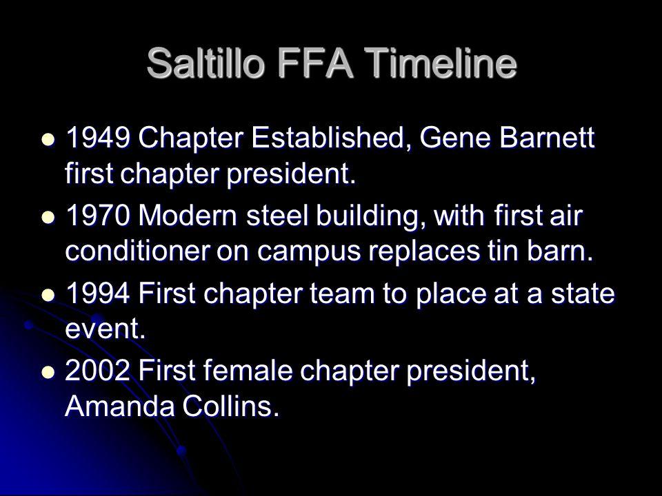Saltillo FFA Timeline 1949 Chapter Established, Gene Barnett first chapter president.