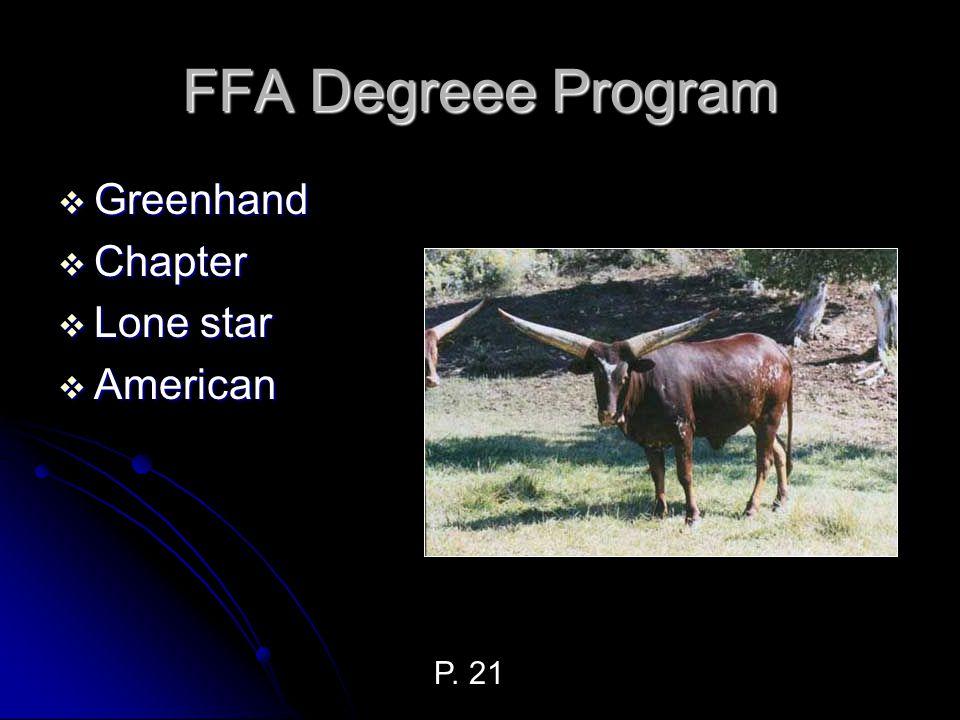FFA Degreee Program Greenhand Chapter Lone star American P. 21