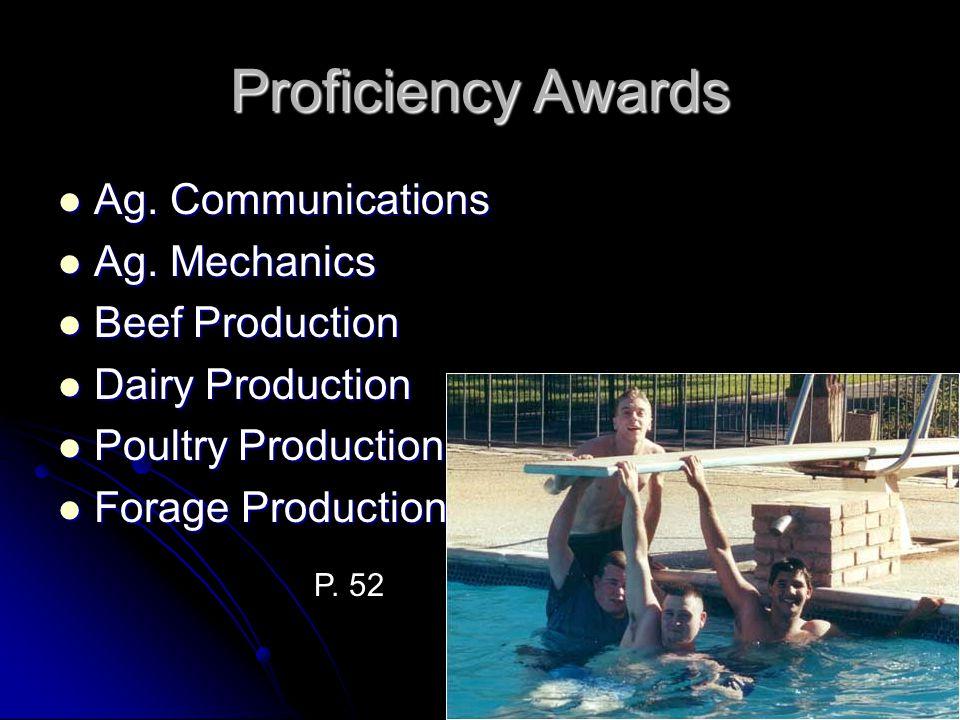 Proficiency Awards Ag. Communications Ag. Mechanics Beef Production