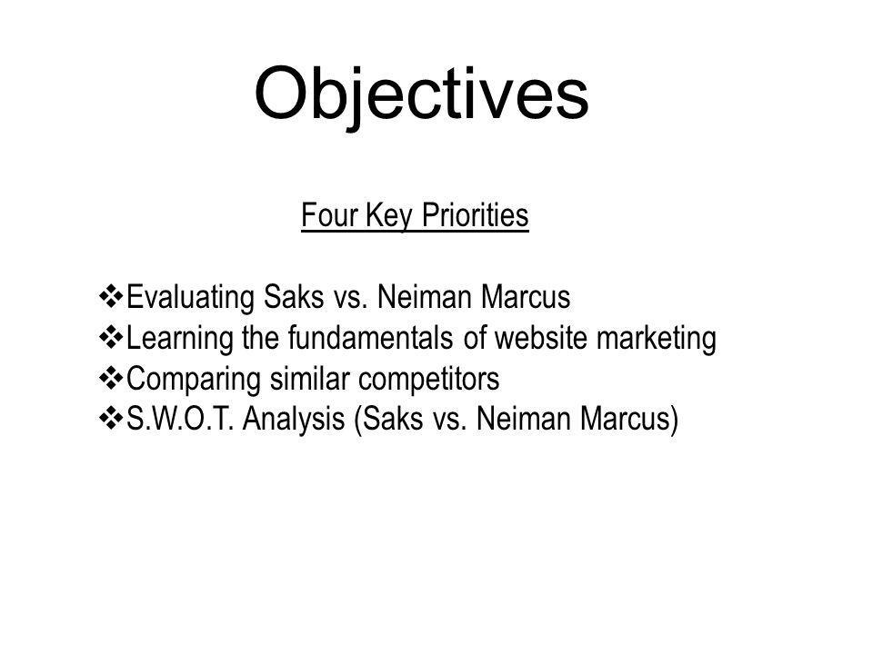 Objectives Four Key Priorities Evaluating Saks vs. Neiman Marcus
