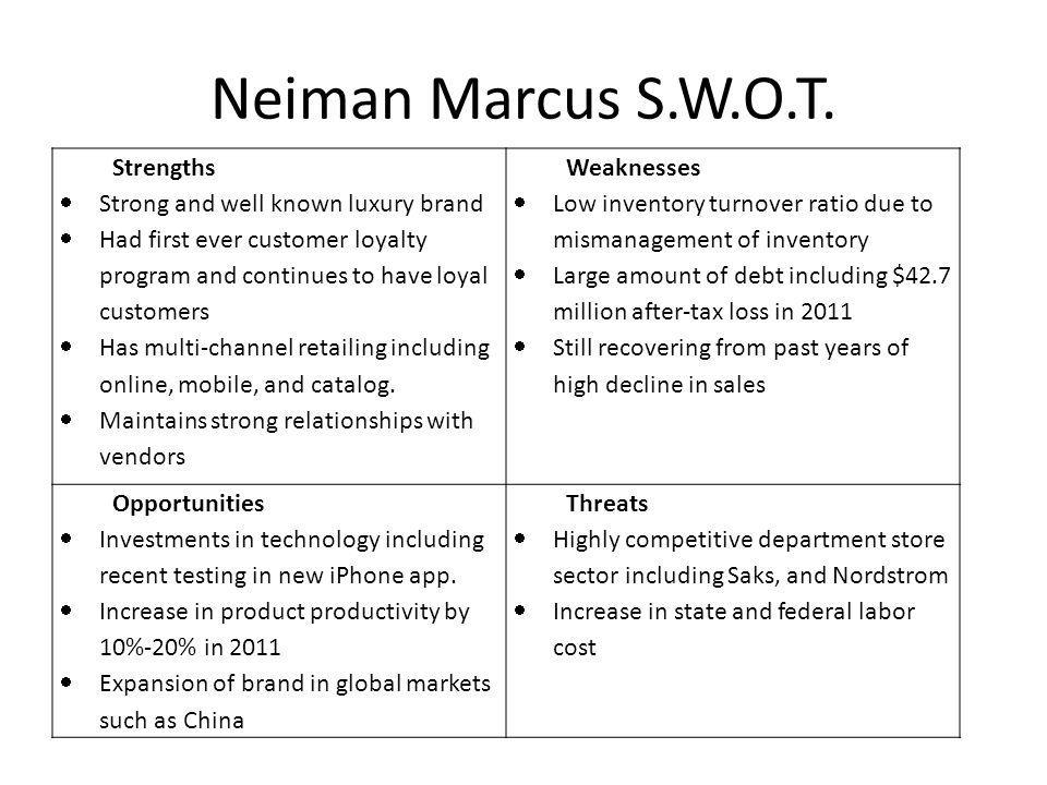 Neiman Marcus S.W.O.T. Strengths Strong and well known luxury brand