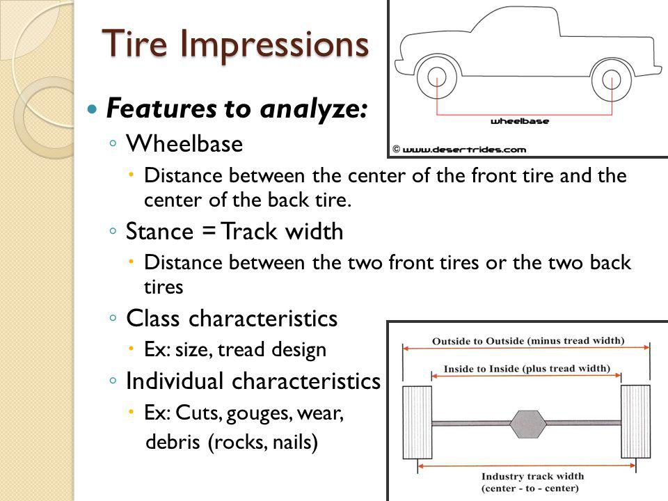 Tire Impressions Features to analyze: Wheelbase Stance = Track width