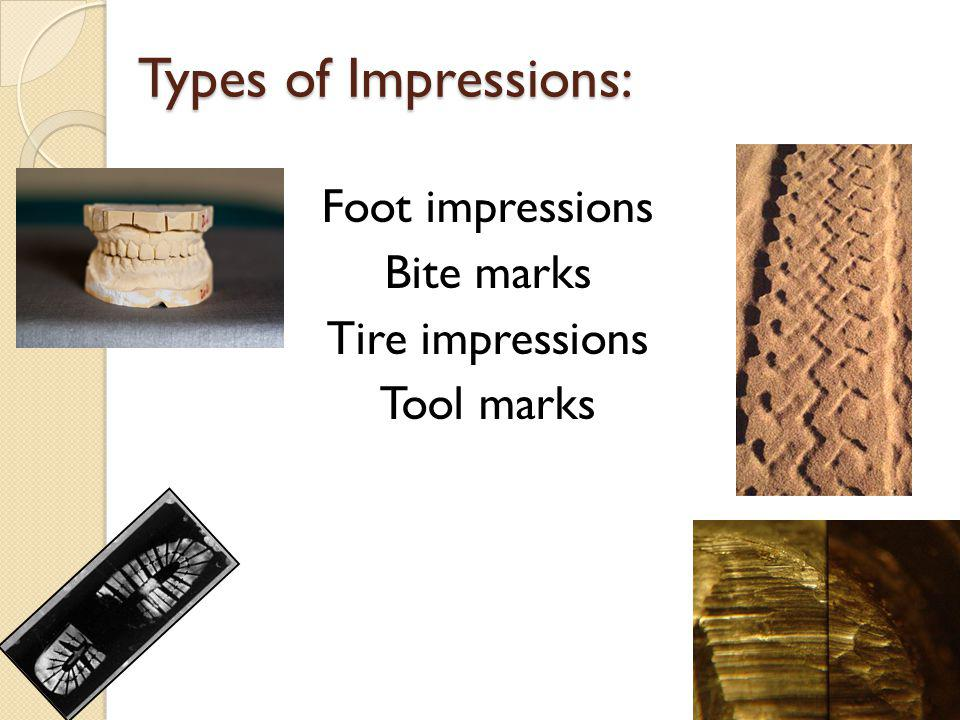 Types of Impressions: Foot impressions Bite marks Tire impressions