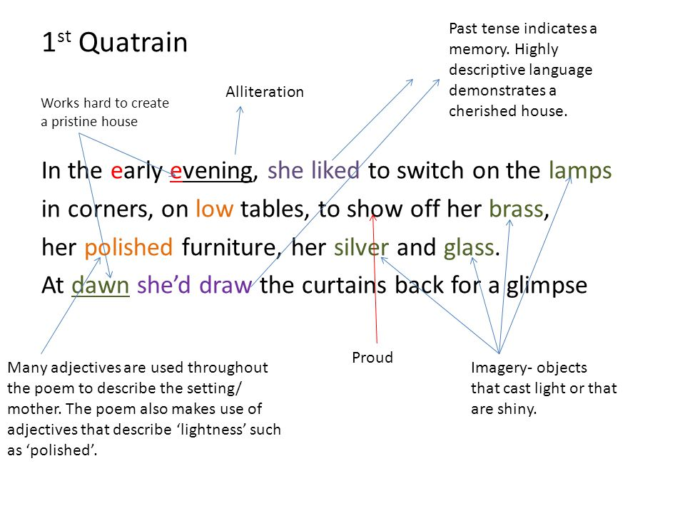 1st Quatrain In the early evening, she liked to switch on the lamps
