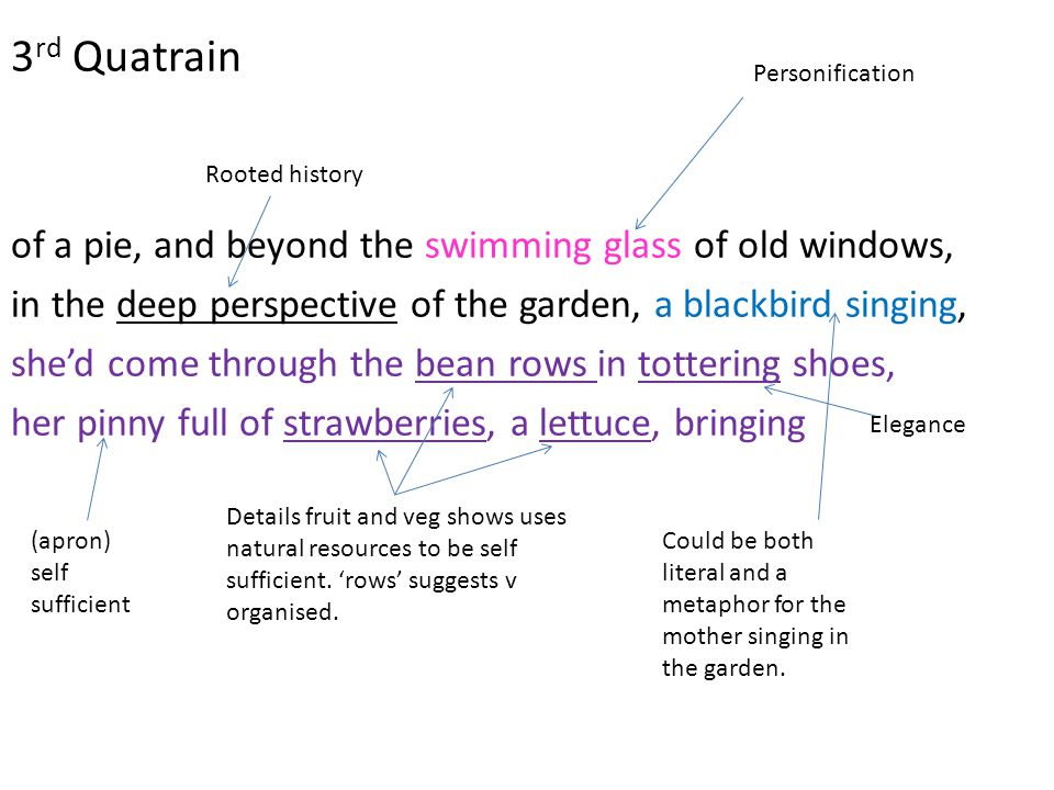 3rd Quatrain of a pie, and beyond the swimming glass of old windows,