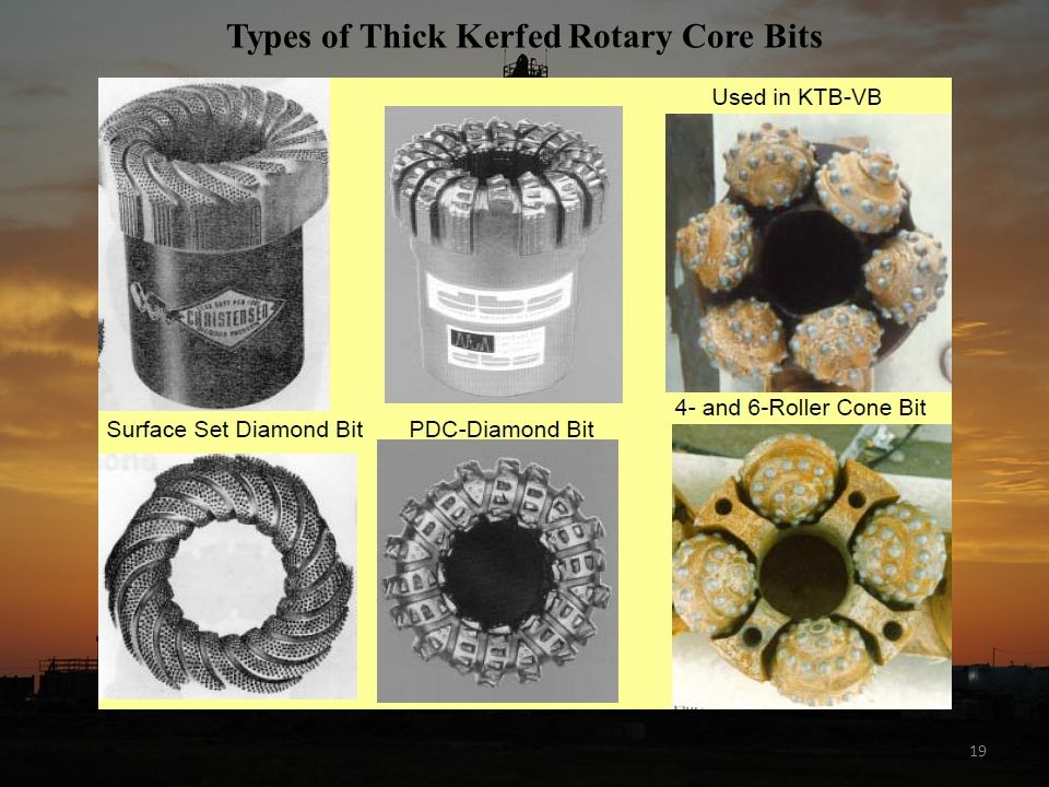 Types of Thick Kerfed Rotary Core Bits