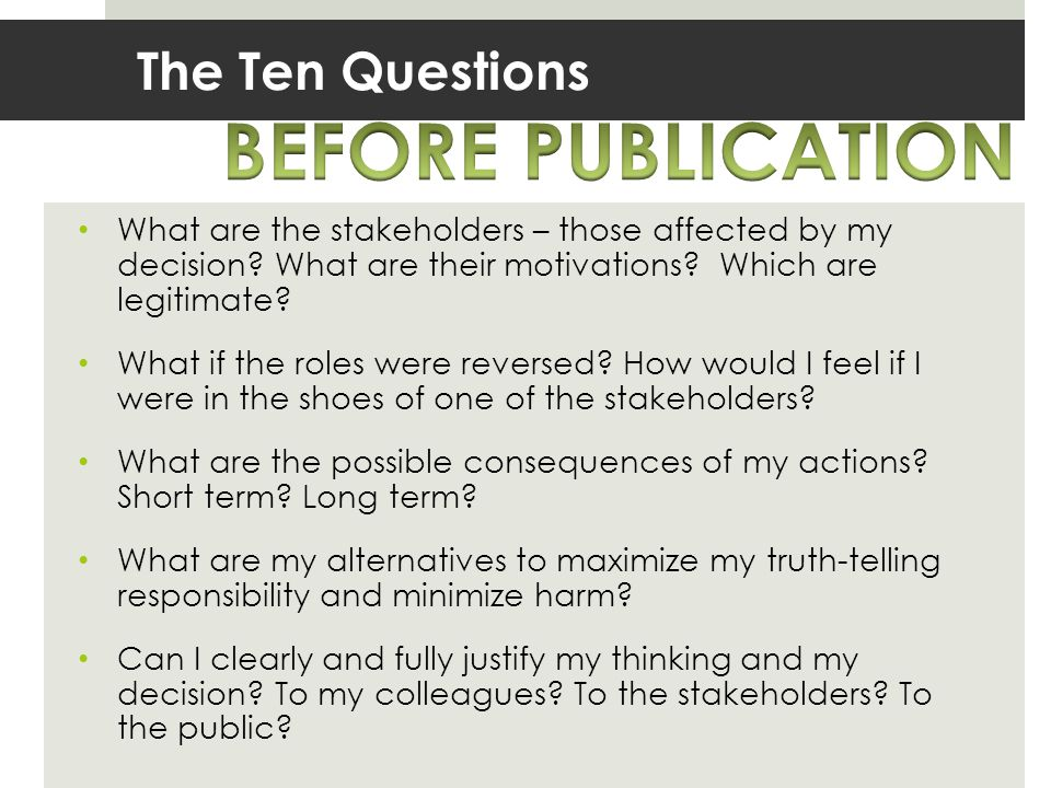 BEFORE PUBLICATION The Ten Questions