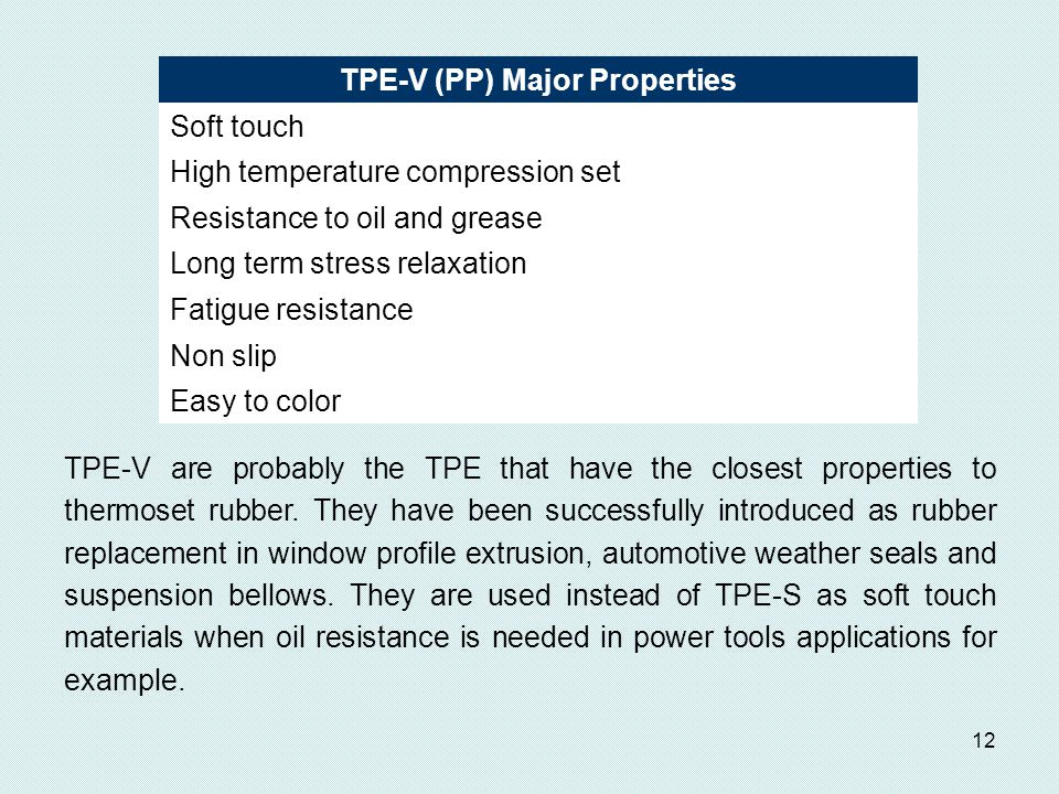 TPE-V (PP) Major Properties