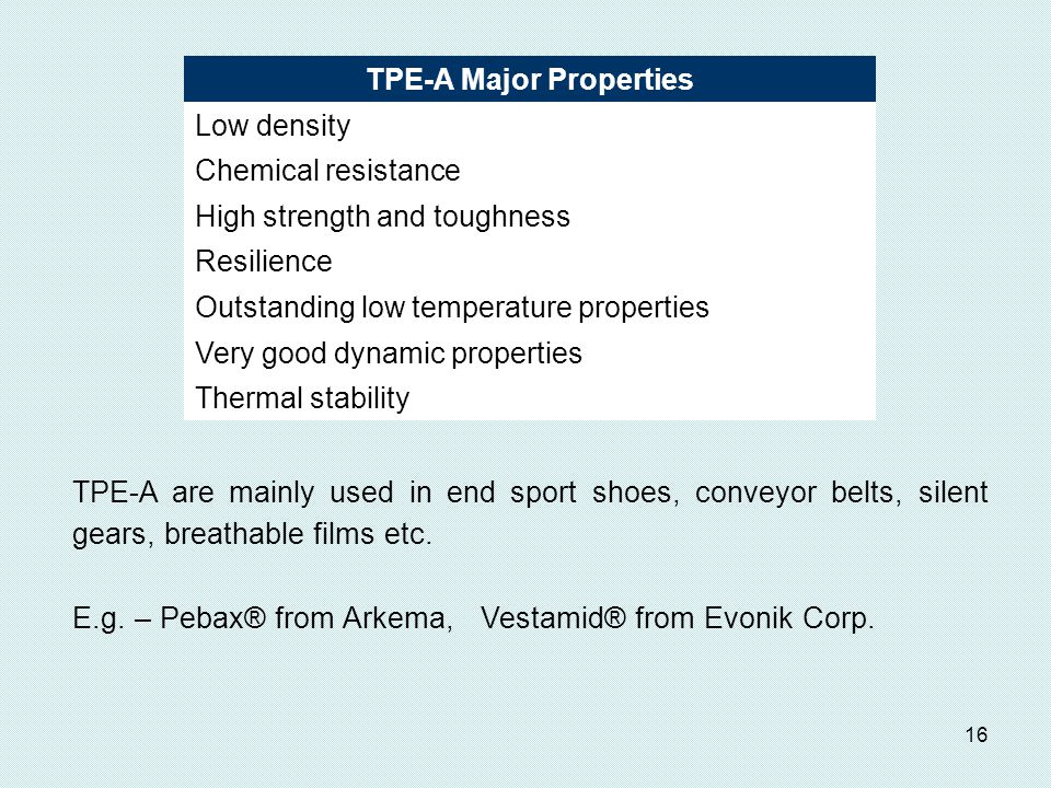 TPE-A Major Properties