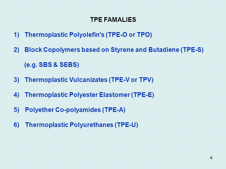 TPE FAMALIES 1) Thermoplastic Polyolefin s (TPE-O or TPO) 2) Block Copolymers based on Styrene and Butadiene (TPE-S)