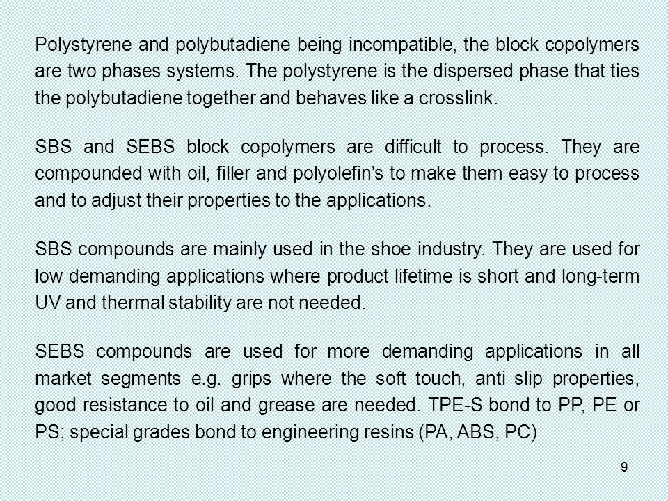 Polystyrene and polybutadiene being incompatible, the block copolymers are two phases systems. The polystyrene is the dispersed phase that ties the polybutadiene together and behaves like a crosslink.