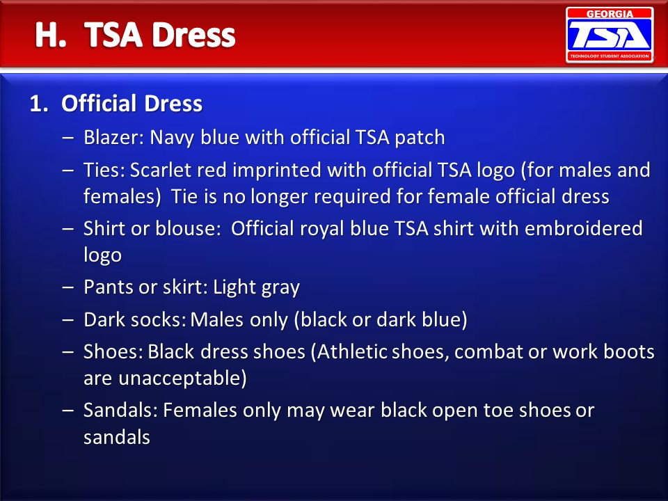H. TSA Dress 1. Official Dress