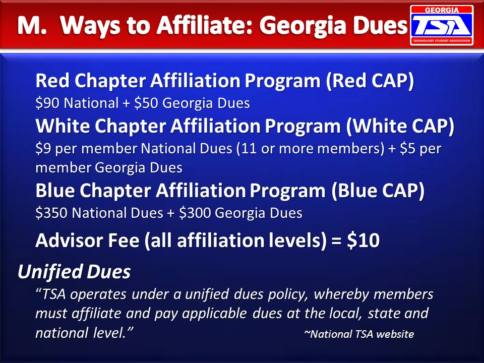 M. Ways to Affiliate: Georgia Dues