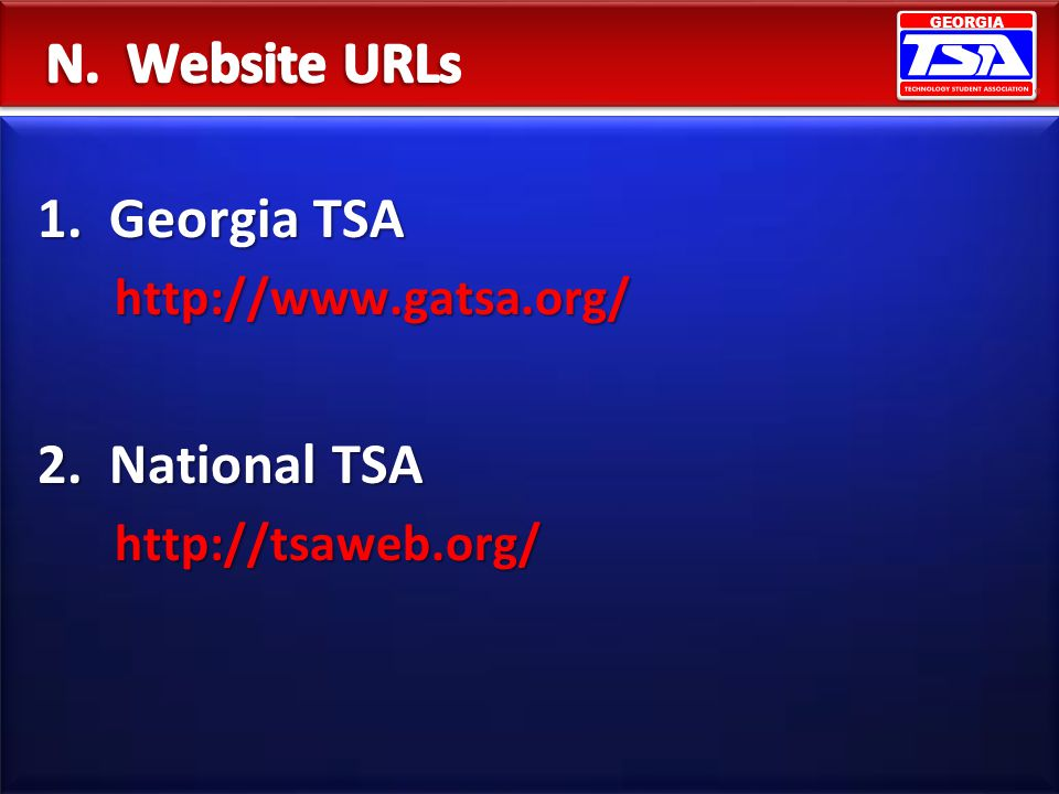 N. Website URLs 1. Georgia TSA 2. National TSA http://www.gatsa.org/