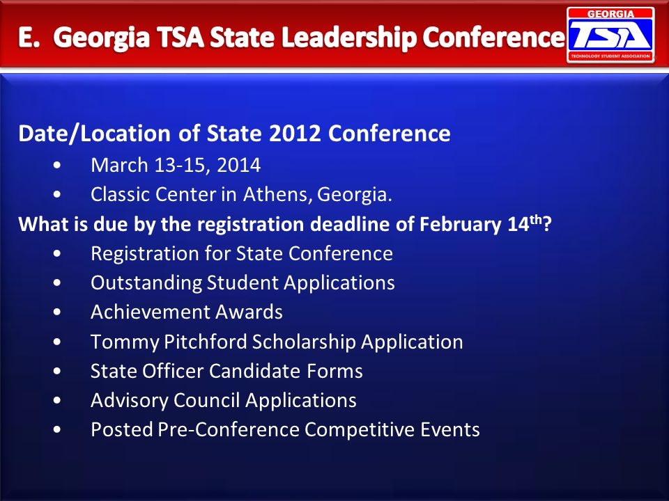 E. Georgia TSA State Leadership Conference