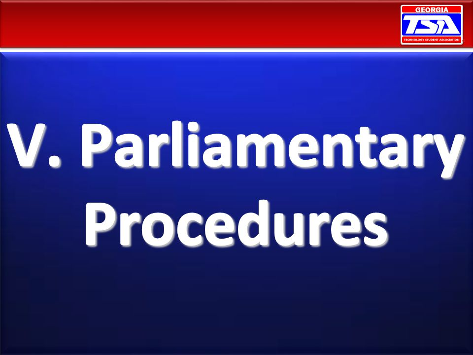 V. Parliamentary Procedures
