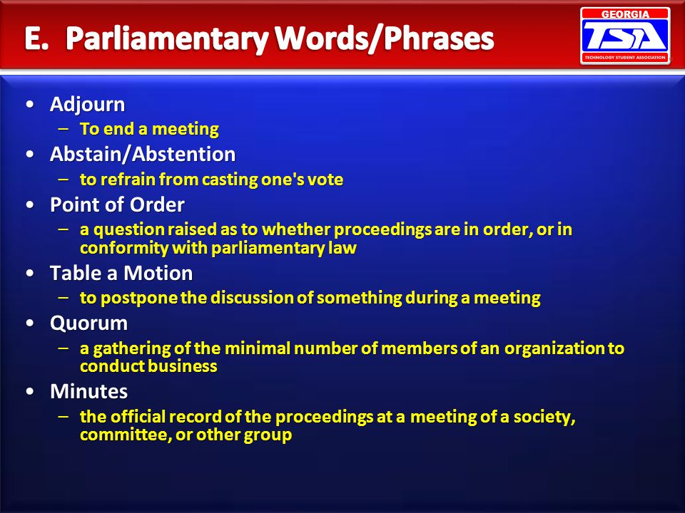 E. Parliamentary Words/Phrases