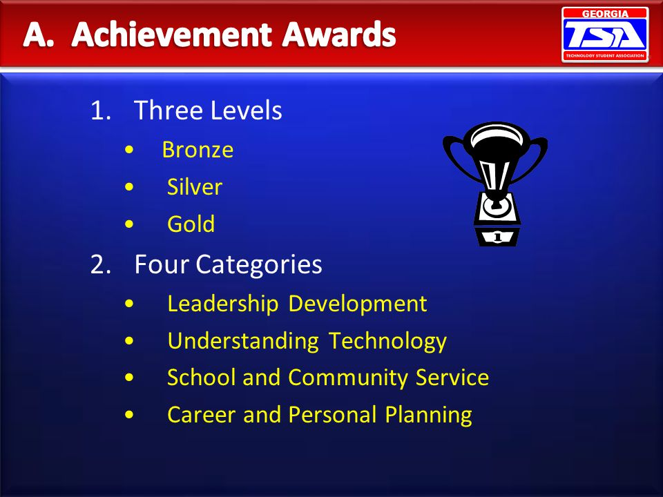A. Achievement Awards Three Levels Four Categories Bronze Silver Gold