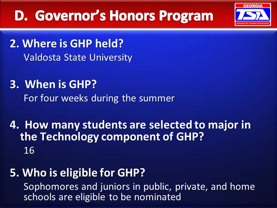 D. Governor's Honors Program