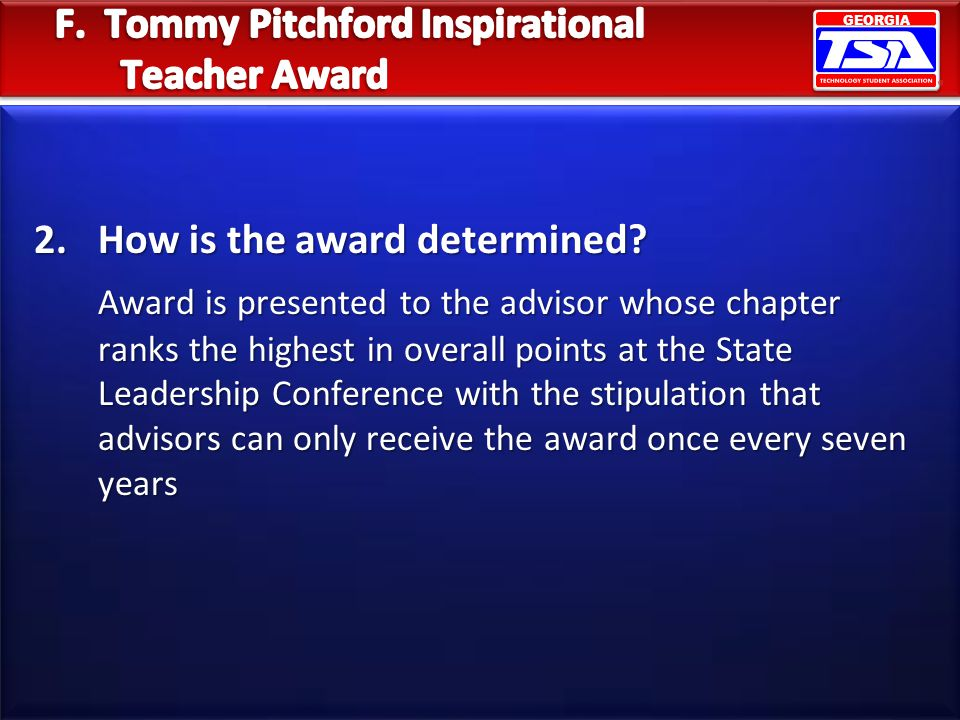 F. Tommy Pitchford Inspirational Teacher Award