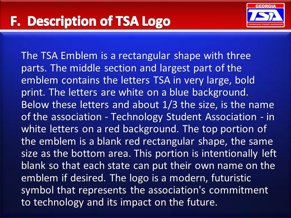 F. Description of TSA Logo