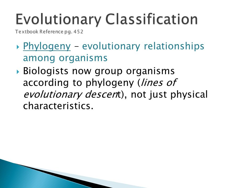 Evolutionary Classification Textbook Reference pg. 452