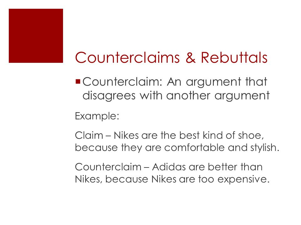claims and counterclaims in writing argument