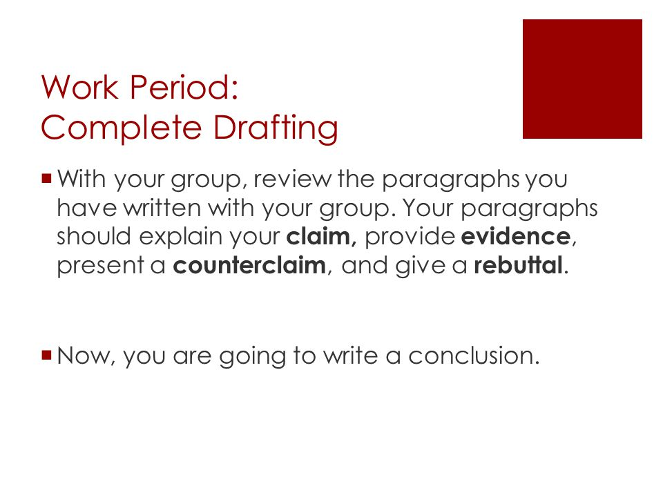 Work Period: Complete Drafting