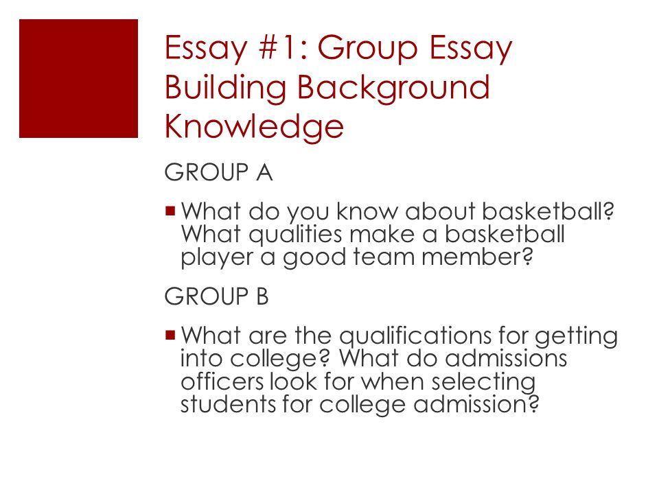 Essay #1: Group Essay Building Background Knowledge