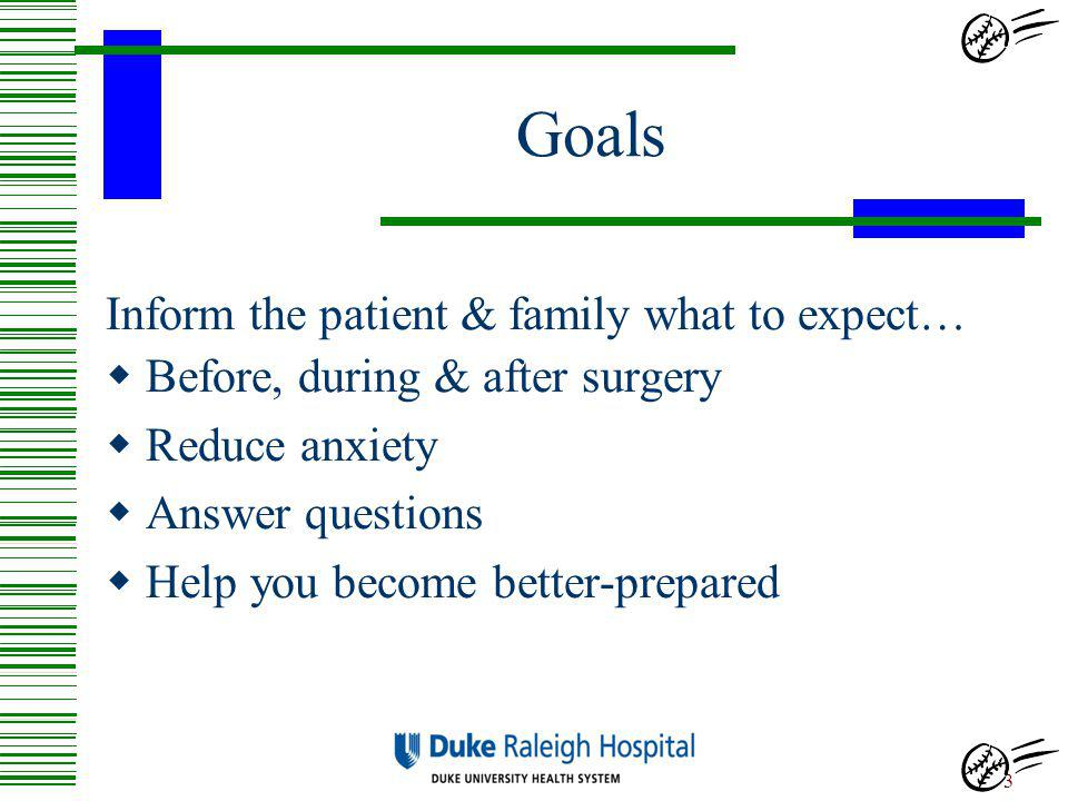 Goals Inform the patient & family what to expect…